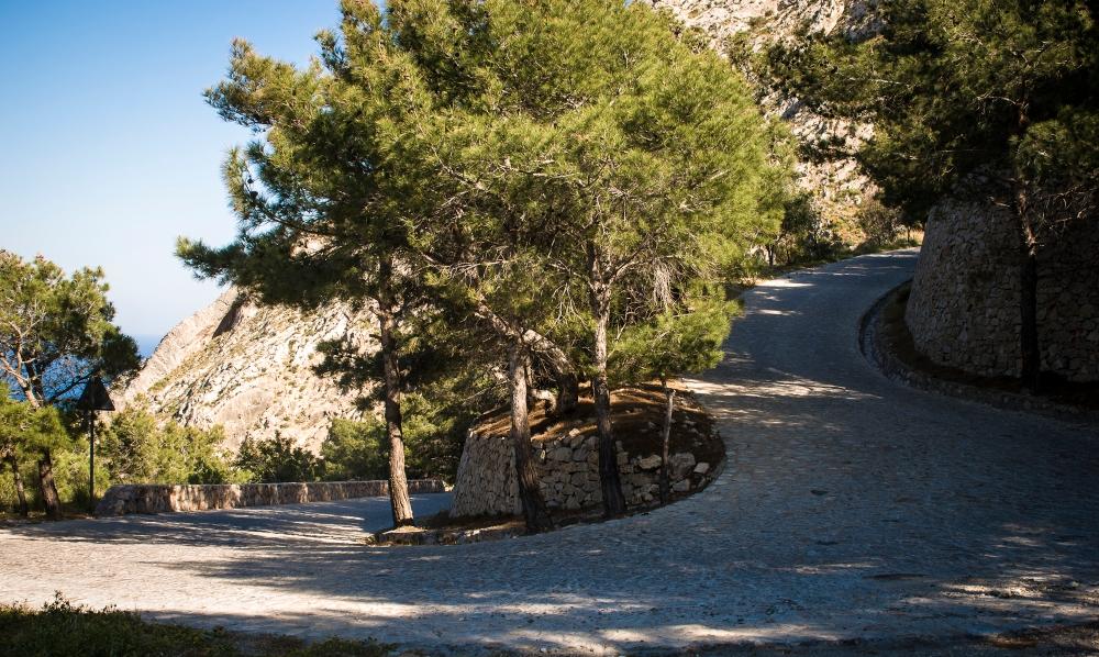 Road to Ancient Thira in Santorini