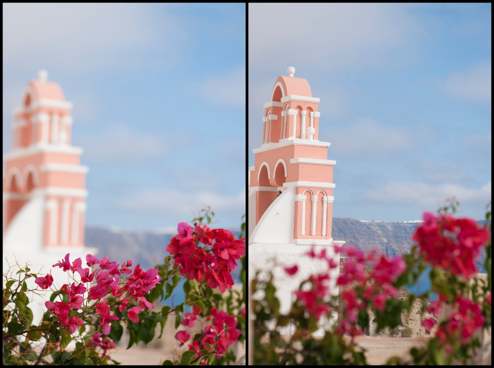 Greece church in flowers at Oia, Santorini