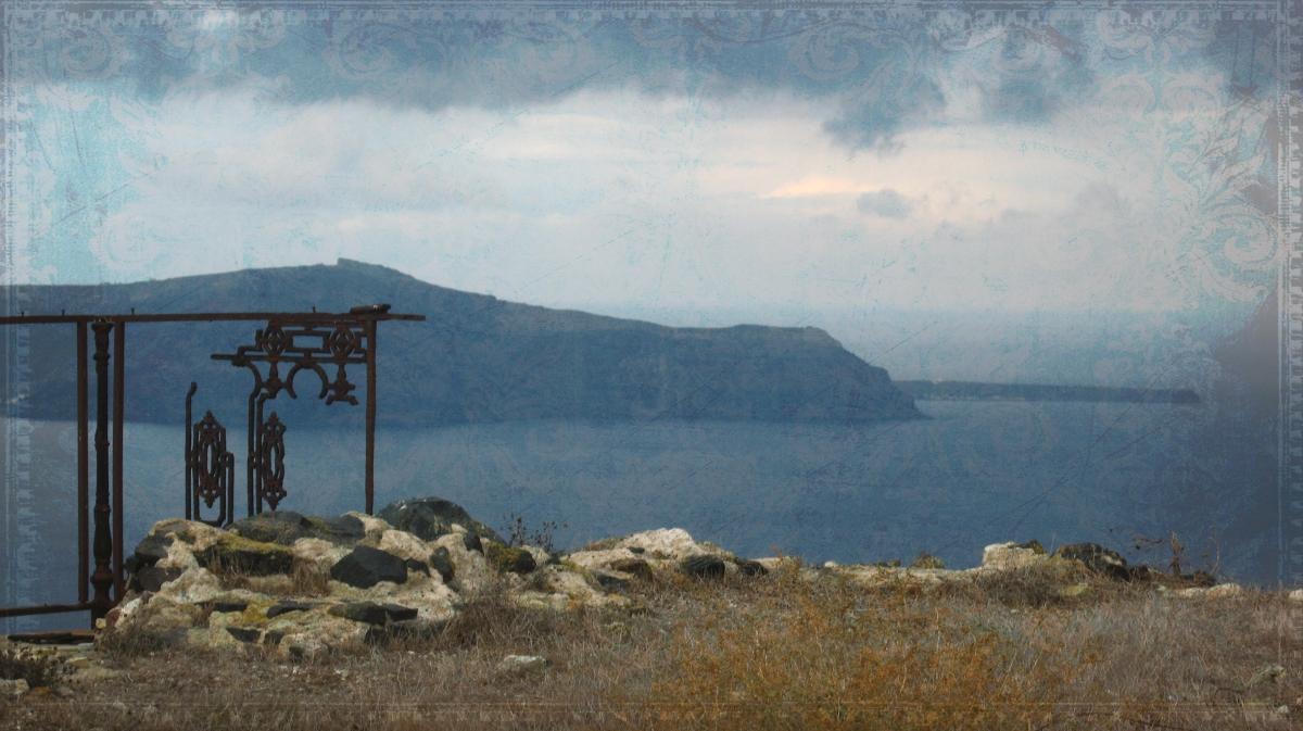 Santorini cloudy day. Thirassia