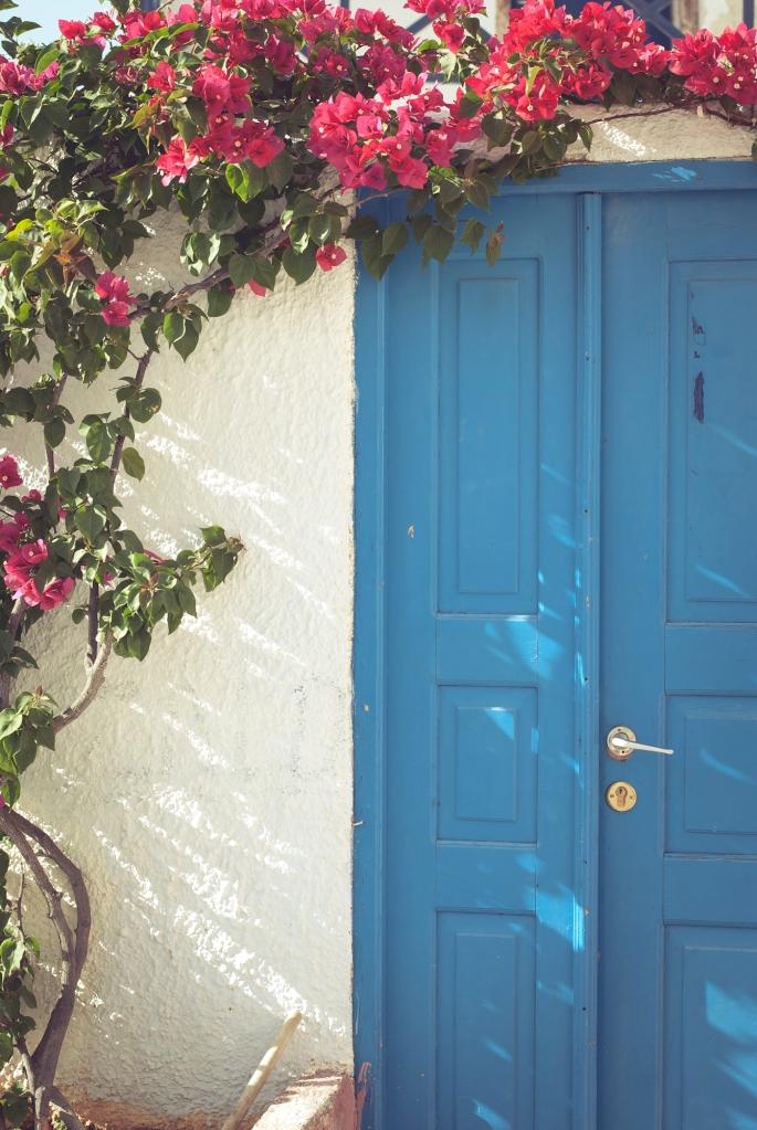 Oia village, Santorini blue doors. Greece