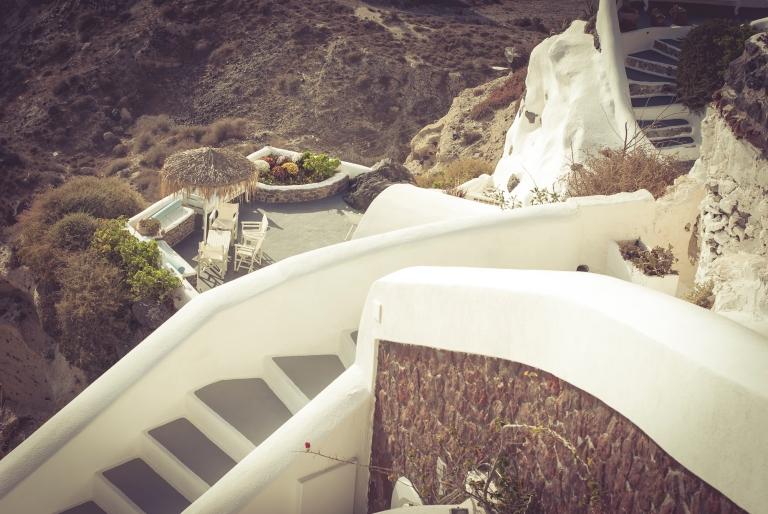 Oia village, stairs, Santorini. Greece