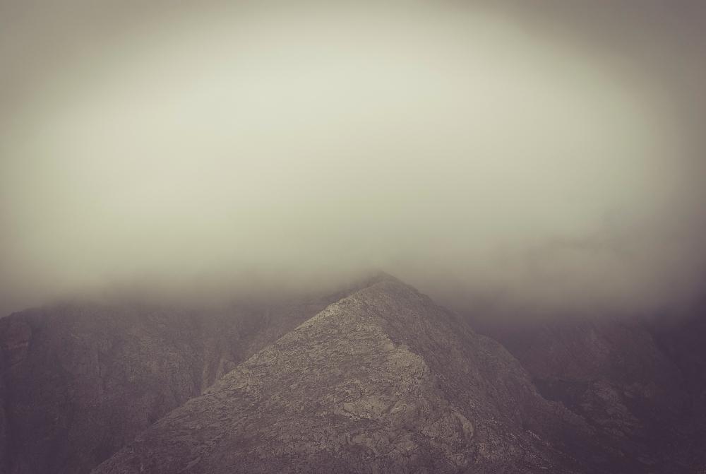 Mist in Santorini in winter time.