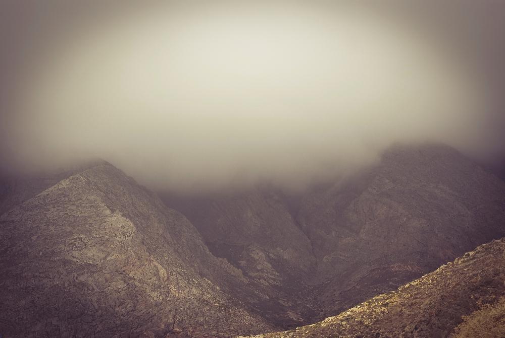 Fog in Santorini in winter time.