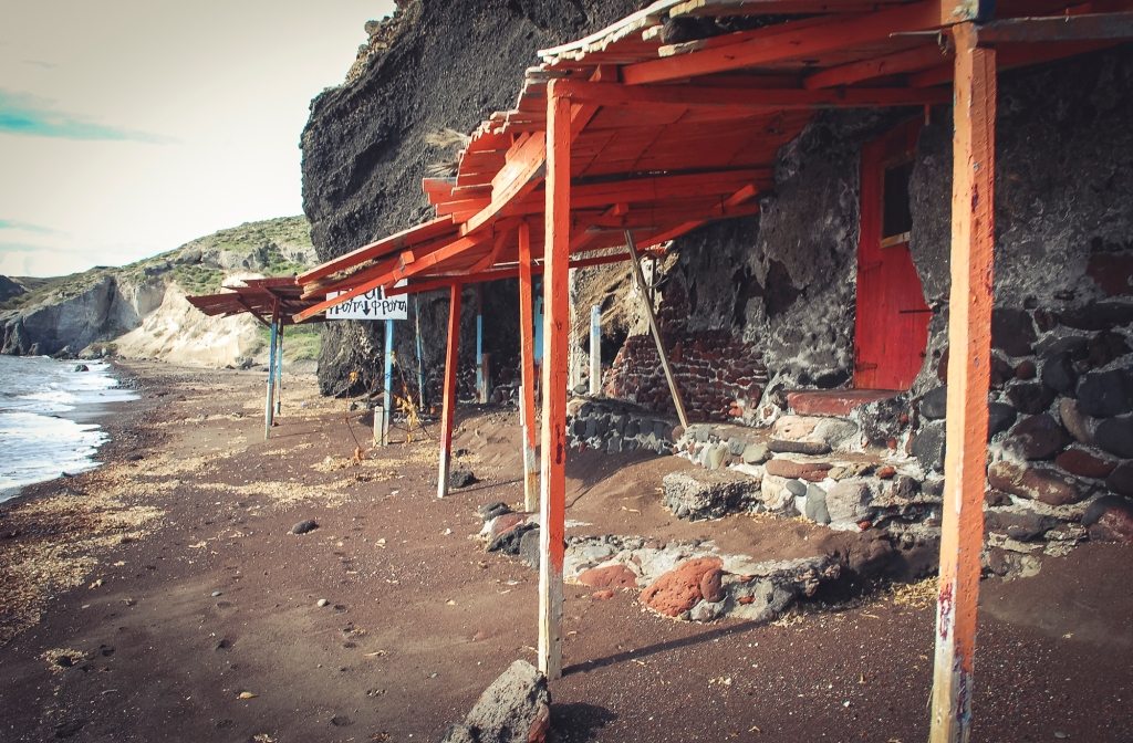 Popular Red beach. Santorini.