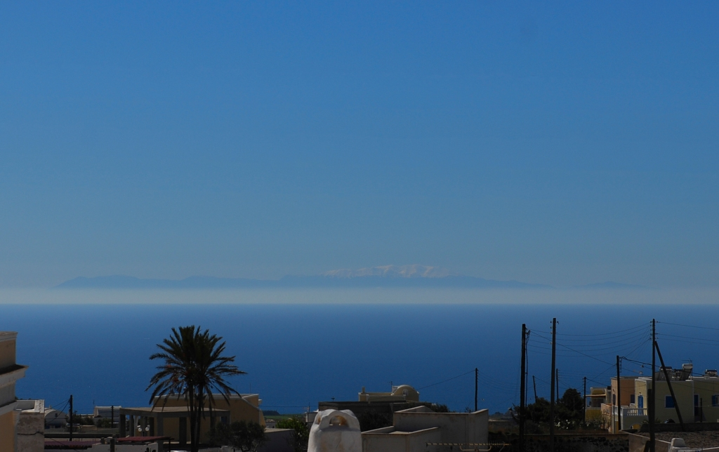 You can see Crete from Santorini