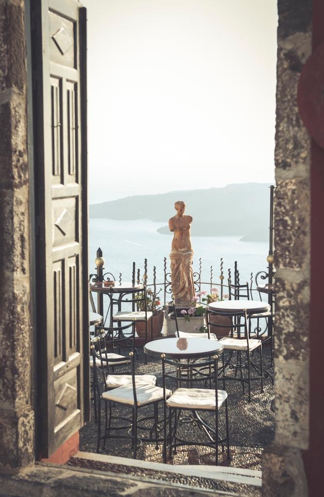 cotta statue of aphrodite in Fira town Santorini