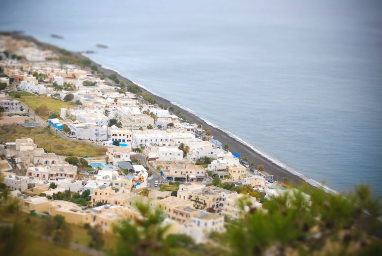 Kamari beach from mountain of Profiti Ilias. Santorini.