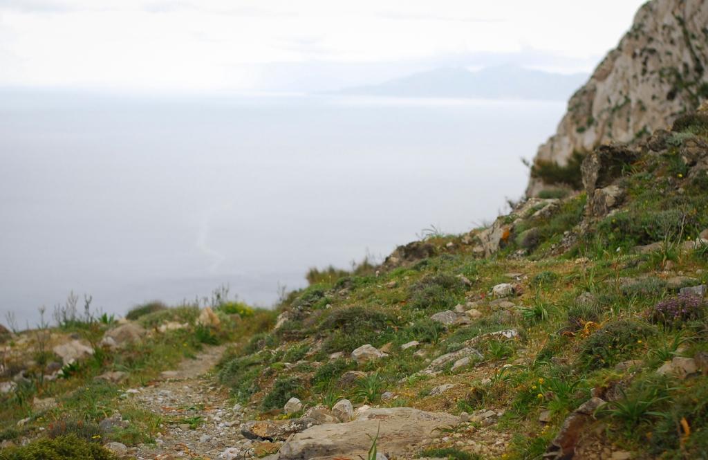 Profitis Ilias Mountain Santorini from Ancient Thera side