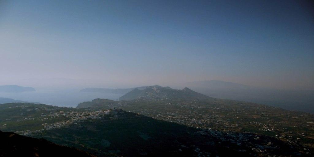 View from Profitis Ilias Mountain Santorini