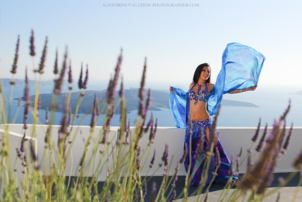 Santorini japanese dancer on holliday in Greece