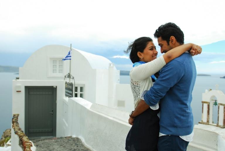 Stormy Oia village in Santorini honeymoon photo session thera