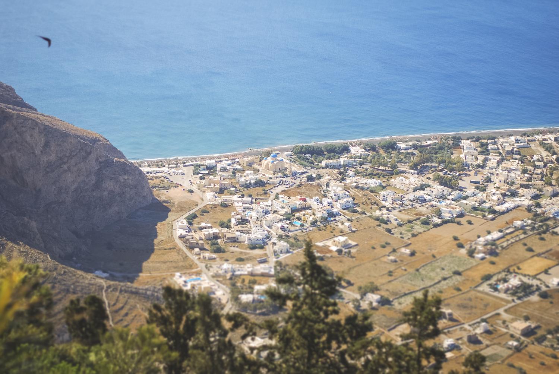 Monastery of Profitis Ilias, quiet Sunday.  Santorini ...