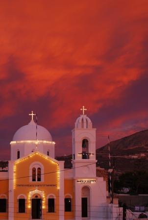 Santorini Church in Sunset