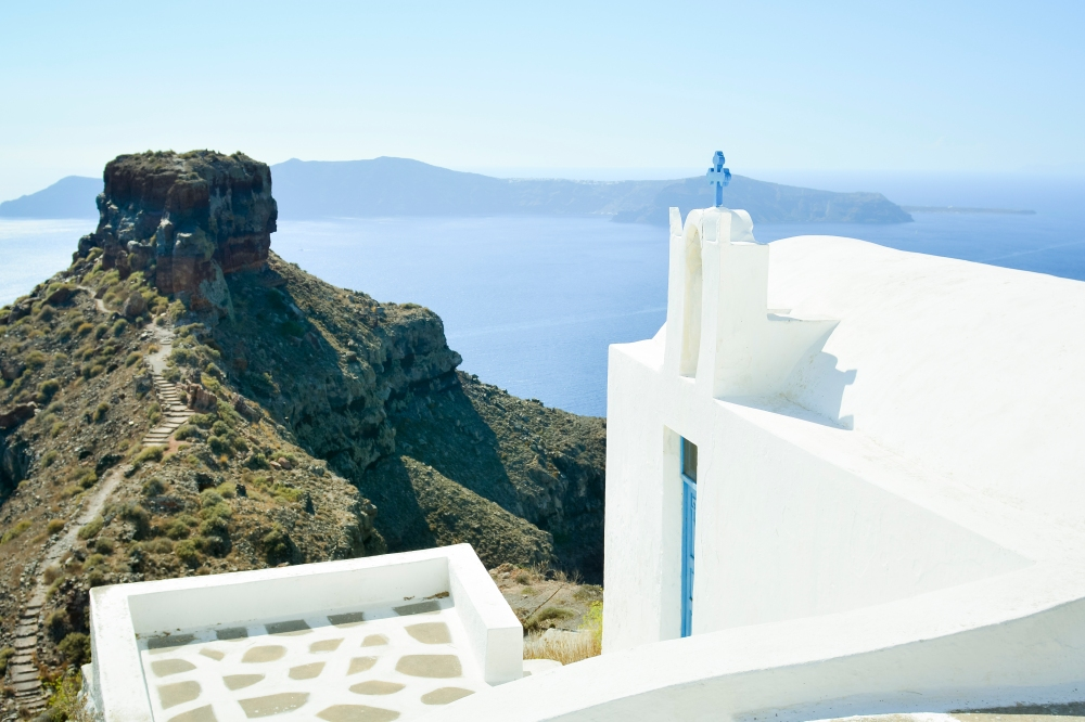 Santorini white church