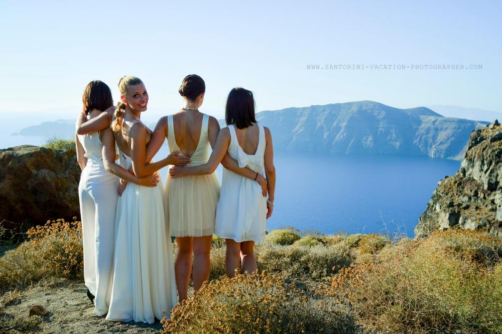 Bridesmaids at Imerovigli