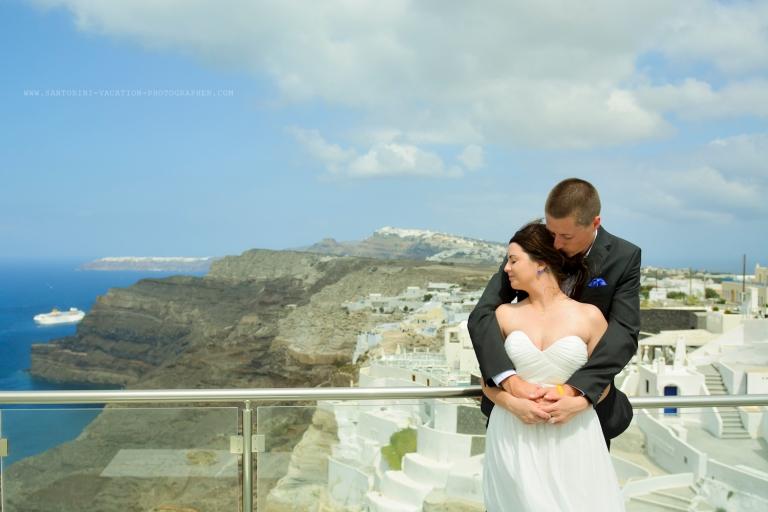 Just married in Santorini