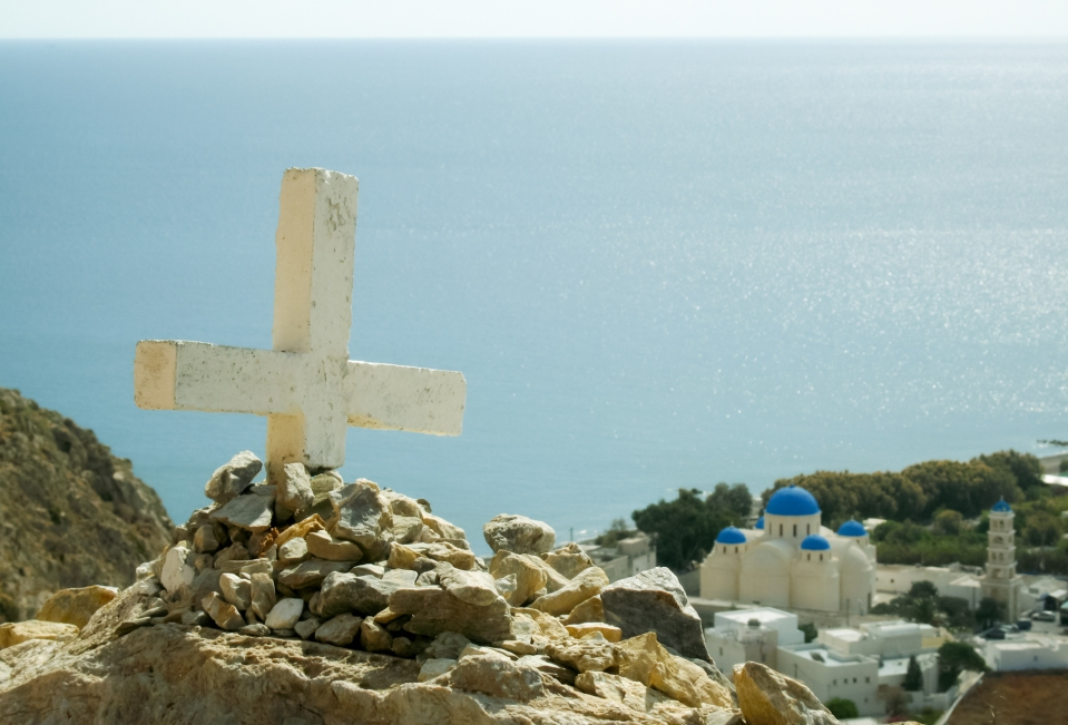 On the road to Ancient Thera. Santorini.