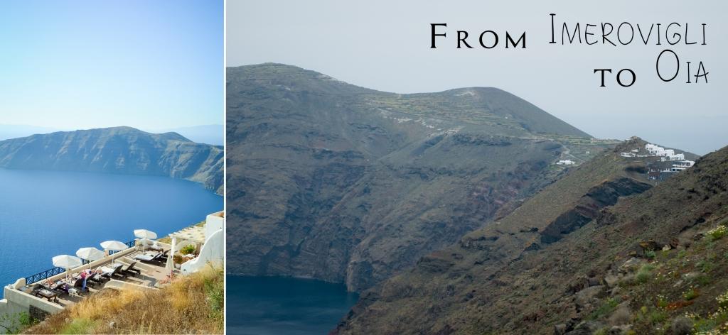 Hike from village Imerovigli to village Oia. Santorini.