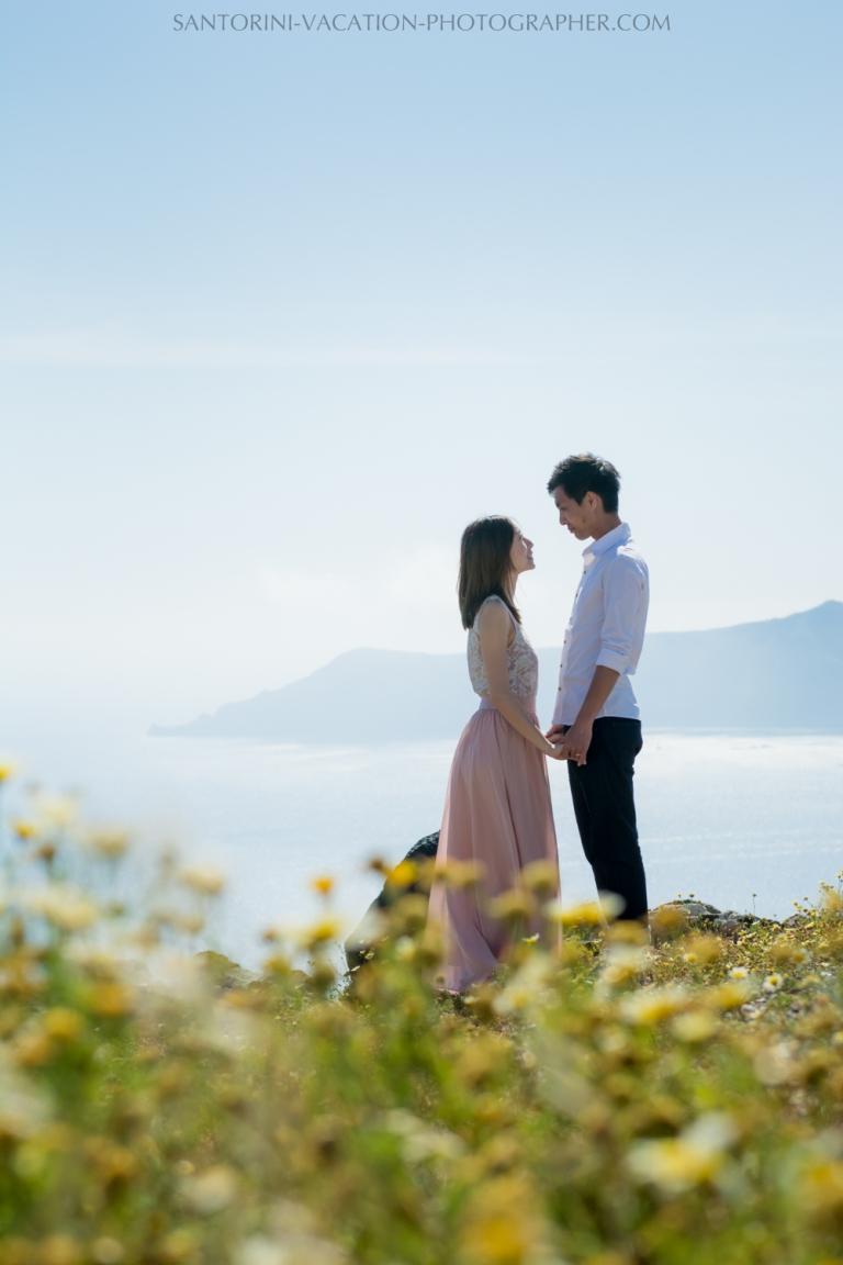 Santorini photo shoot in spring