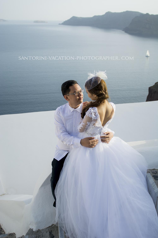 Wedding dress. Santorini getaway.