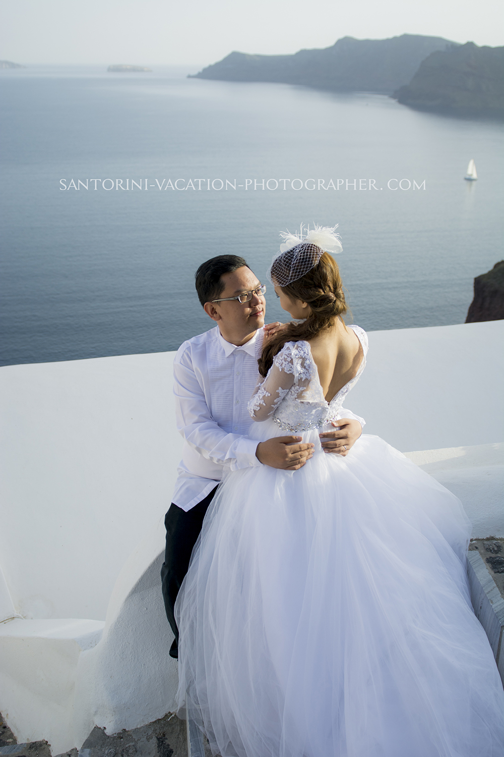 Wedding dress. Santorini getaway.