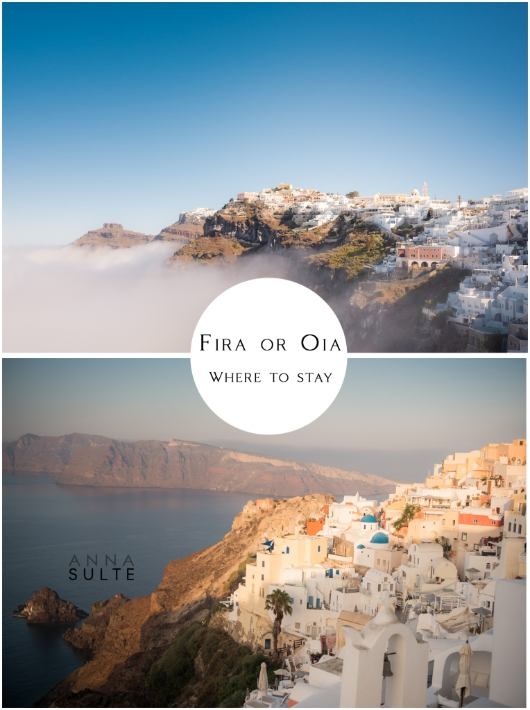 Caldera View of Santorini villages Oia and Fira