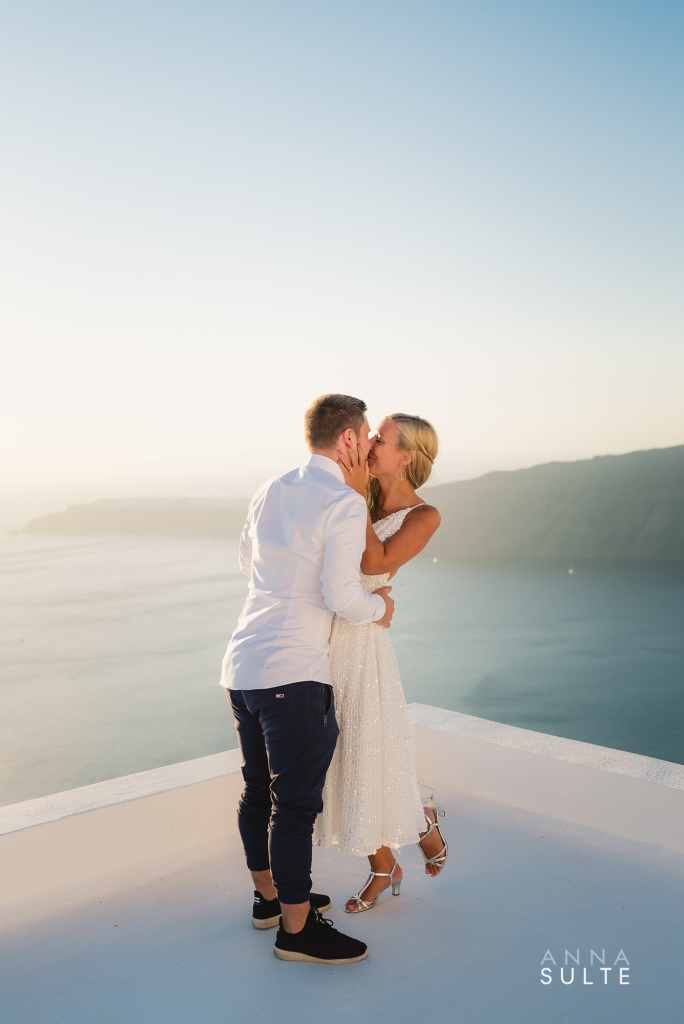 Couple in Santorini just married